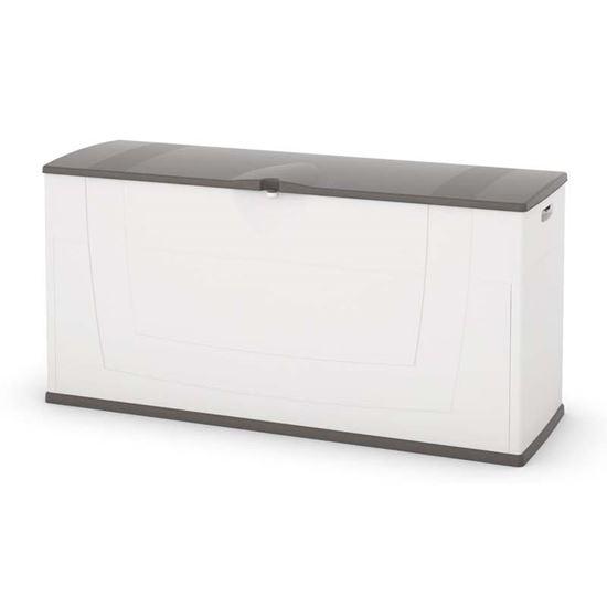 Immagine di Baule in resina, 119x40xh58 cm, colore bianco/grigio