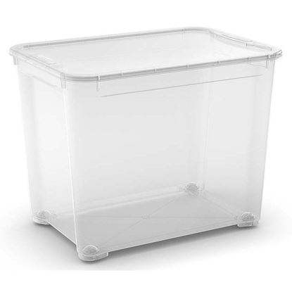 Immagine di Contenitore con coperchio, T Box, trasparente,  con ruote  55,5X39X42,5 cm