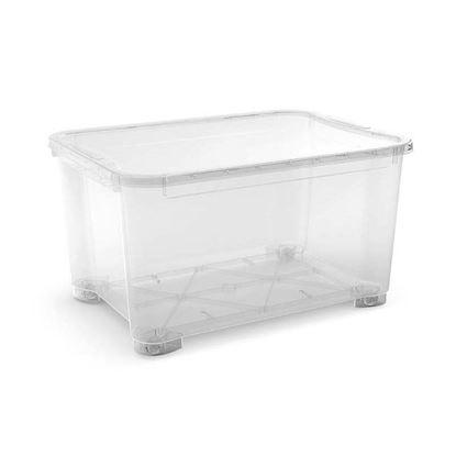 Immagine di Contenitore con coperchio, T Box, trasparente, con ruote 79,5X58X43,5 cm