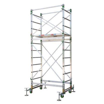 Immagine di Trabattello Facal Alumito, in alluminio struttura 3,40 mt, altezza lavoro 4,40 mt, montanti 25x65 mm, gradini 30x30 mm