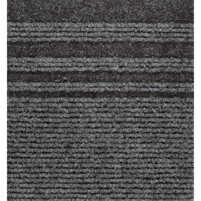 Immagine di Passatoia Genova, agugliato verticale con bande laterali, in polipropilene, spessore 7 mm, h 67 cm, colore grigio