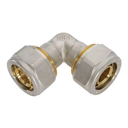 Immagine di Raccordo a stringere a gomito, per tubo multistrato, doppio, 20x20 mm