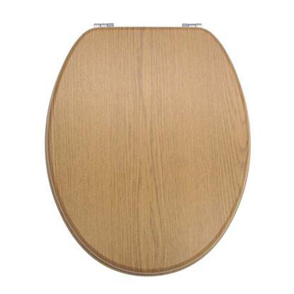 Immagine di Sedile WC, universale, rivestimento in PVC, colore rovere