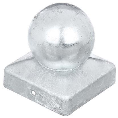 Immagine di Copripalo con sfera, per pali quadri, zincato a fuoco, 70x70 mm