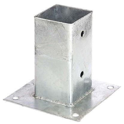 Immagine di Portapalo da avvitare, per pali quadri, zincato a fuoco, 71x71 mm