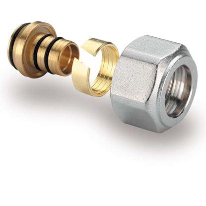 Immagine di Adattatore tubo multistrato, IVR, 24-19, cromato, Ø 16x2 mm