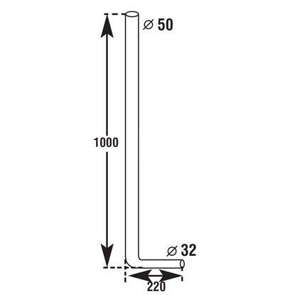 Immagine di Tubo per cassetta a zaino CR, Ø 50x32 mm, altezza 100 cm, lunghezza 22 cm