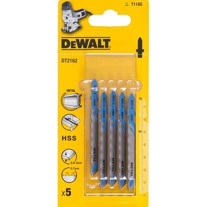 Immagine di Lama DeWalt, per seghetto alternativo, in acciaio, 3x100 mm, per alluminio 4/15 mm, metallo 4/6 mm, 5 pezzi