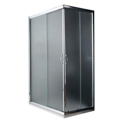 Immagine di Box doccia Giada, profilo alluminio anodizzato cromo lucido, cristallo 6 mm opaco, 80x120xh185 cm