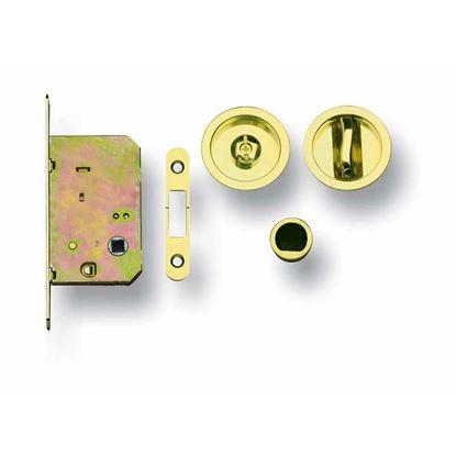 Immagine di Kit per porte scorrevoli Ghidini, con nottolino e serrratura, finitura ottone lucido