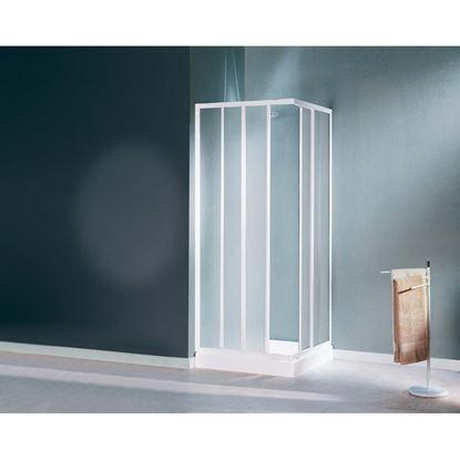Immagine di Box doccia Mediterraneo, profilo bianco, cristallo stampato 3 mm, 80/90 cm