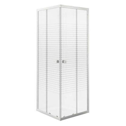 Immagine di Box doccia, Gala, profilo alluminio bianco, cristallo temperato 4 mm, con serigrafia, 100x70xh185 cm