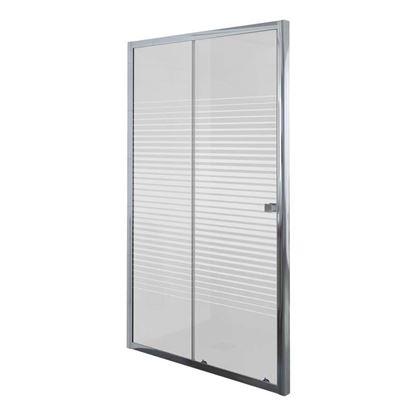 Immagine di Porta doccia Umbra, scorrevole, profilo alluminio cromato, cristallo temperato 5 mm, con serigrafia, 140xh190 cm