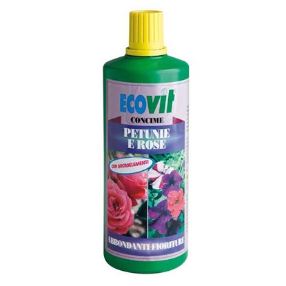 Immagine di Concime Ecovit, liquido, per petunie e rose, indicato per le principali varietà di petunie e rose, 1 kg