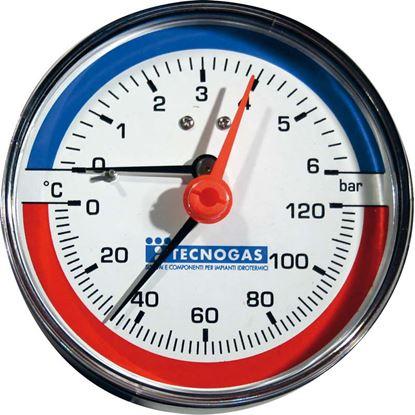 Immagine di Termomanometro, 0/6 bar, Ø 80 mm, 0/120°, radiale