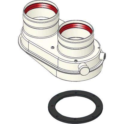 Immagine di Sdoppiatore, aspirazione/scarico, FF Ø 80/80 mm, compatibile Junkers - Bosch