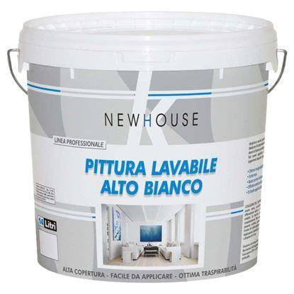 Immagine di Pittura lavabile traspirante New House, per interno, resa 140/160 m² con 1 latta, 14 lt, colore bianco