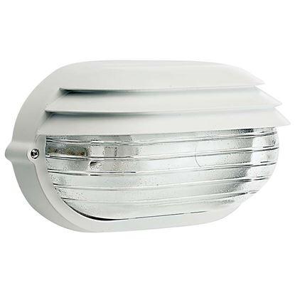 Immagine di Plafoniera ovale Palpebra, diffusore in vetro stampato, IP54, E27-60 W, 21,9xh11,5 cm, colore bianco