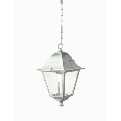 Immagine di Sospensione quadra Old, diffusore in vetro trasparente, IP43, E27-60 W, colore bianco argento