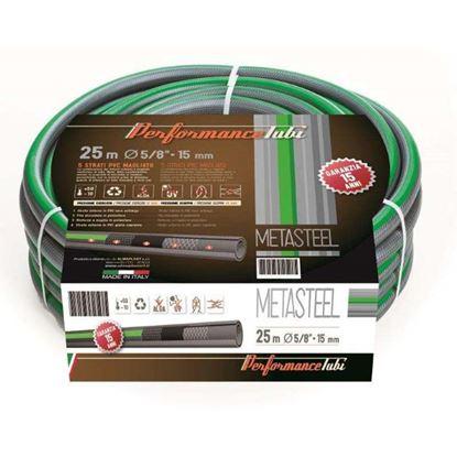 Immagine di Tubo MetalStyle 5 strati in PVC, doppio rinforzo tessile, trecciato, antitorsione, Ø 12,5 mm, 50 mt