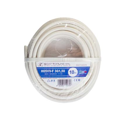Immagine di Matassa cavo H05VV-F 3G1,50 mmq, 10mt, colore bianco