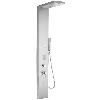 Immagine di Colonna idro manhattan acciaio inox, 4 funzioni soffione effetto cascata flessibile 150/200 cm h 160 cm acciaio satinato
