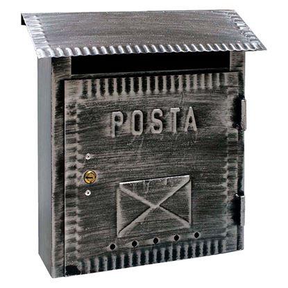 Immagine di Cassetta postale Alubox Rustica, in ferro battuto, colore nero brunito, 22 x 9 x 36 cm