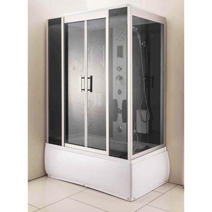 Immagine di Vasca Combinata, con profili in alluminio satinati, 140x85xh210 cm