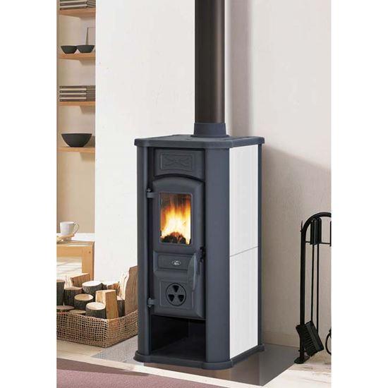 Immagine di Stufa a legna Royal Efesto New 5,8 kW, volume riscaldabile 150 m³, resa 81,7%, Ø fumi 120 mm, 39x38xh79 cm, colore panna