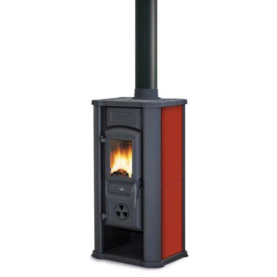Stufa a legna Royal Efesto New 5,8 kW, volume riscaldabile 150 m³, resa  81,7%, Ø fumi 120 mm, 39x38xh79 cm, colore rosso