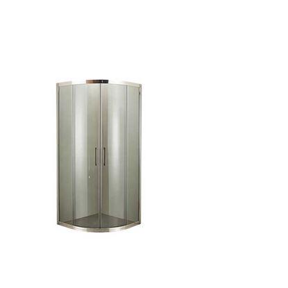 Immagine di Box doccia Giulia, semicircolare, profilo cromo lucido, cristallo fumè, spessore 4 mm, maniglia cromata, 80x80x185 cm