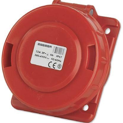 Immagine di Presa Fissa da Incasso, 3P+T, 16A, 380V, 6h, colore rosso, IP67