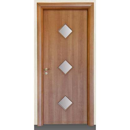 Immagine di Porta alessia noce chiaro batt., revers., 78x214 cm, telaio piatto, acc. olv, con vetro