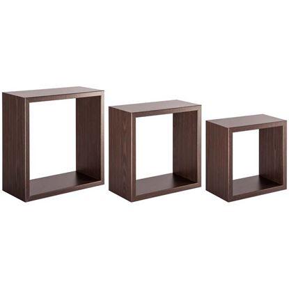 Immagine di Cubotto Incubo, in fibra di legno, portata 10 kg, set 3 pezzi, 35xh35x15,5 / 30xh30x15,5 / 25xh25x15,5 cm, wenghè