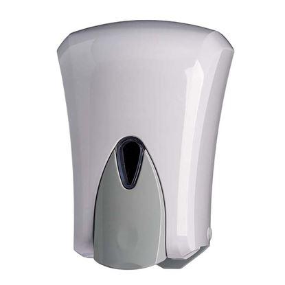 Immagine di Distributore di sapone liquido Wave in ABS push anti-goccia per tutti i tipi di sapone salvo microgranuli bianco, 1 lt
