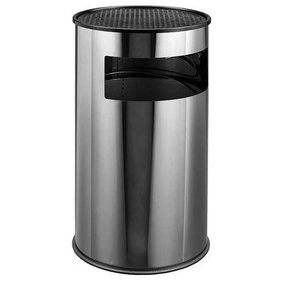 Immagine di Posacenere gettacarte Big, acciaio  inox, secchio con maniglia, posac. griglia in metallo nero, base in plastica, 50 lt