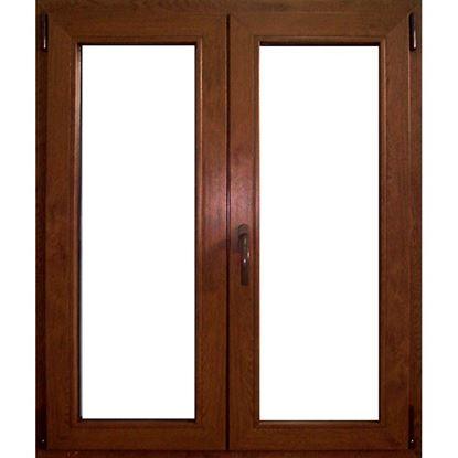 Immagine di Finestra pvc 2 ante 6 camere, doppio vetro, 100x140 cm, colore noce