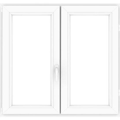 Immagine di Finestra pvc bianca 6 camere, 2 ante, battente, doppio vetro, 140x140 cm