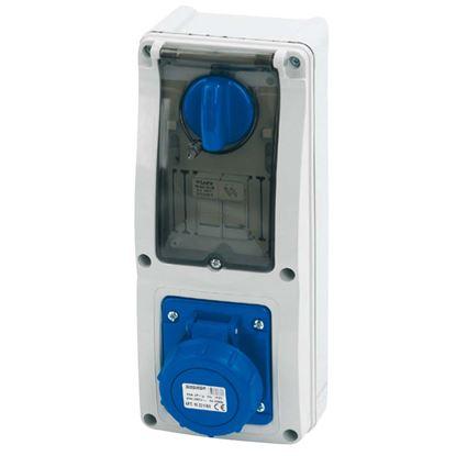Immagine di Presa interbloccata verticale 16A, 2P+T, colore blu, 6h, IP67, 200-250V