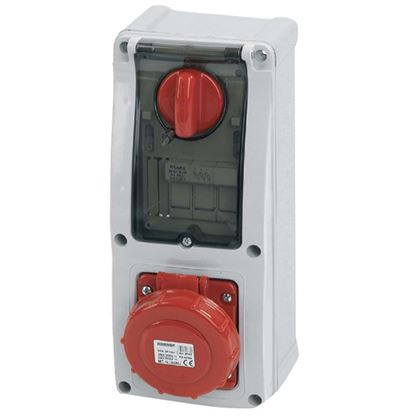 Immagine di Presa interbloccata verticale 16A, 3P+T, colore rosso, 6h, IP67, 380-415V