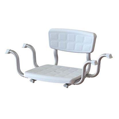 Immagine di Sedile da vasca con schienale regolabileper vari tipi di vasche da bagno, in tecnopolimeri e con finitura antiscivolo