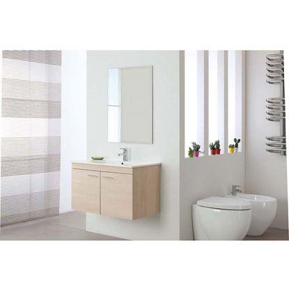 Immagine di Composizione bagno Stella 80, 2 ante,  lavabo in ceramica,  specchio bisellato 60x80 cm,  81x45xh51 cm, colore larice