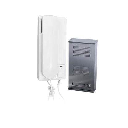 Immagine di Kit Citofono Audio 2 fili SCS, posto esterno alluminio, tasto apriporta, volume suoneria regolabile
