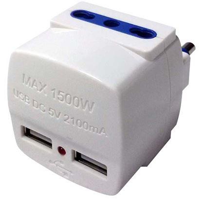 Immagine di Adattatore 2 USB + 2 Bivalenti, 16A+T, colore bianco
