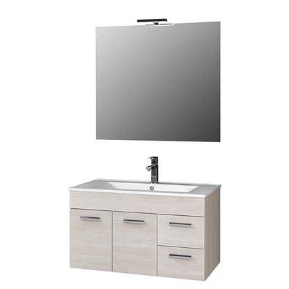Immagine di Composizione Vega 90 cm, 2 ante 2 cassetti, 90x46xh50 cm, larice, lavabo specchio con bordo larice ill led, 90x78 cm