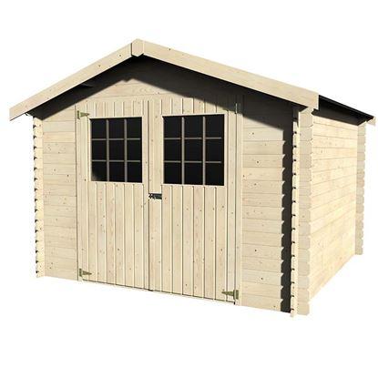 Immagine di Casetta in legno Trento 317x313xh233 cm, a perline ad incastro in legno abete del nord, spessore 28 mm, pavimento con listoni in legno di abete, porta doppia fissate su cardini, vetro sintetico, tetto in OSB