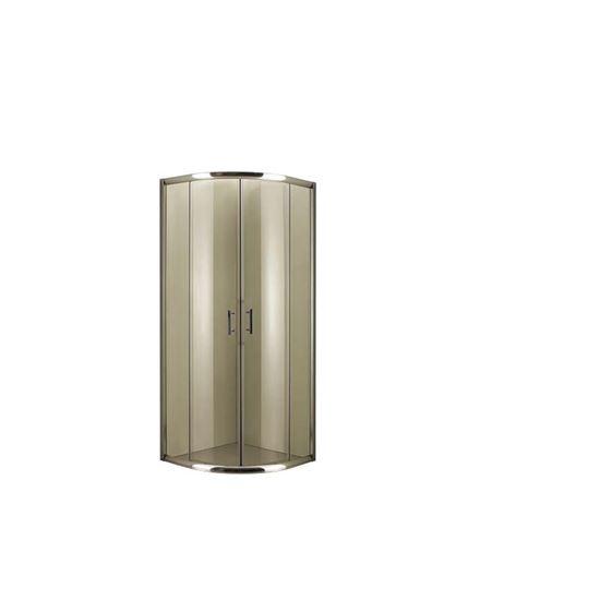 Immagine di Box doccia semicircolare, profilo cromo, cristallo trasparente 6 mm, maniglia in acciaio, ante sganciabili 80x80xh190 cm