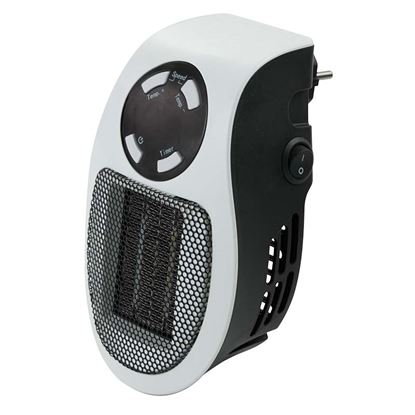 Immagine di Mini termoventilatore 500 W, display Led, controllo temperatura 15-30°, protezione anti-surriscaldamento, timer 12 h