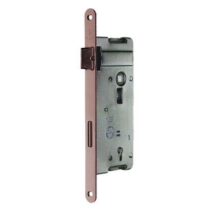 Immagine di Serratura patent, interasse 70 mm, bordo tondo, entrata 40 mm, ottone verniciato