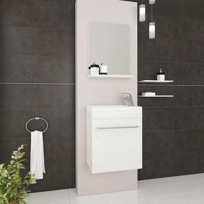 Immagine di Mobile bagno salvaspazio sospeso Perla, 41,5x22,5x106,5 cm, 1 anta lavabo in cer, specchio rovere bco